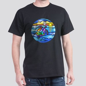 SeaTurtle 8 - round Dark T-Shirt