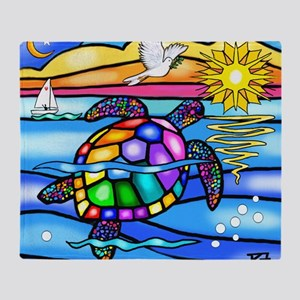 Sea Turtle 8 - square Throw Blanket