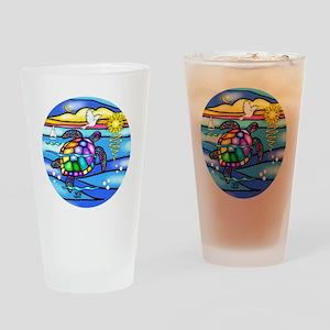 SeaTurtle 8 - round Drinking Glass