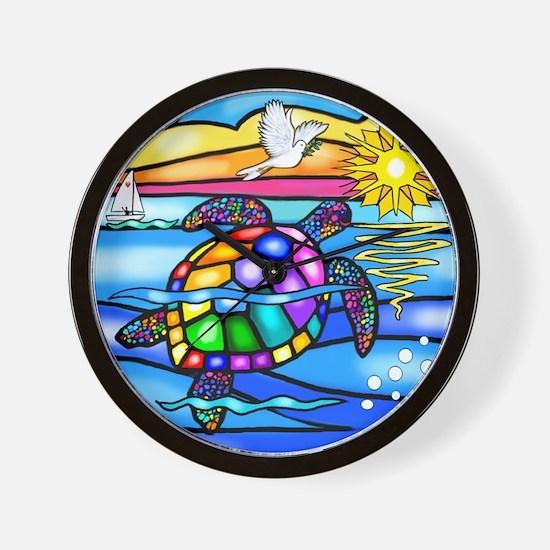 Sea Turtle 8 - square Wall Clock