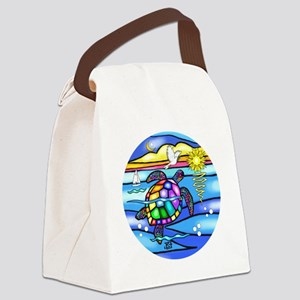 SeaTurtle 8 - round Canvas Lunch Bag