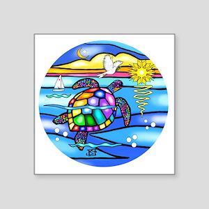 "SeaTurtle 8 - round Square Sticker 3"" x 3"""