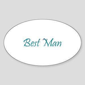 Best Man - Sea Blue Oval Sticker