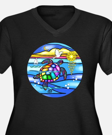 SeaTurtle 8  Women's Plus Size Dark V-Neck T-Shirt