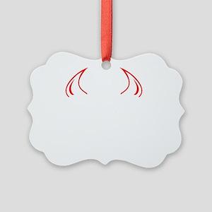Evil Twin White Picture Ornament