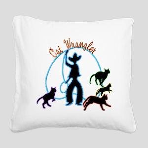 Cat Wrangler Light Square Canvas Pillow