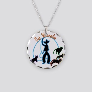 Cat Wrangler Light Necklace Circle Charm