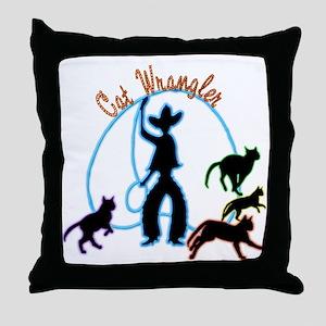 Cat Wrangler Light Throw Pillow