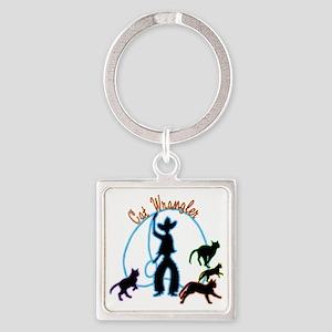 Cat Wrangler Light Square Keychain