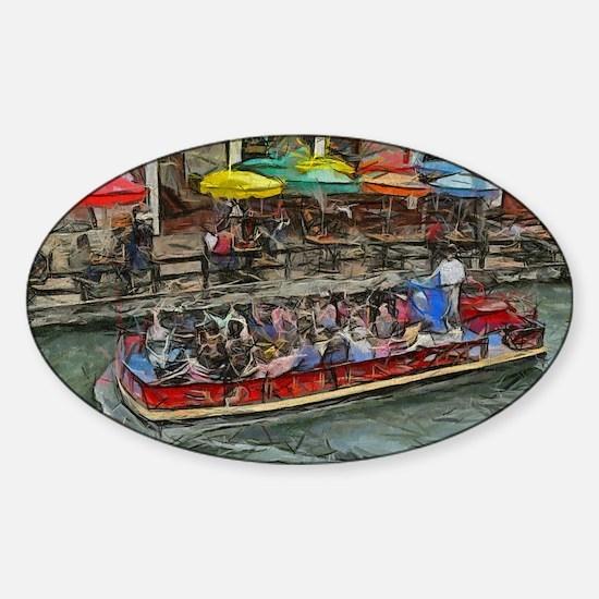 River Walk 14 x 10 Sticker (Oval)