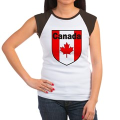 Canadian Flag Shield Women's Cap Sleeve T-Shirt
