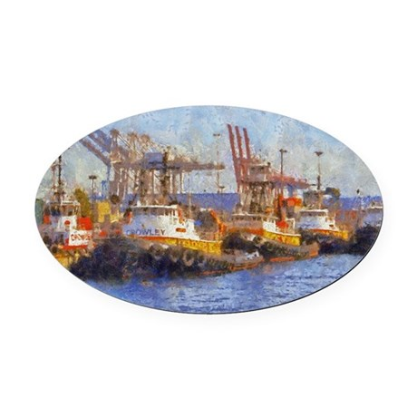 tugs 14 x 10 Oval Car Magnet