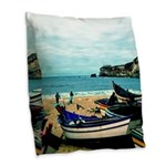 Portugal Algarve Cliffs Burlap Throw Pillow