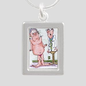 Funny Medicare Breast En Silver Portrait Necklace