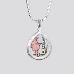 Funny Medicare Breast En Silver Teardrop Necklace