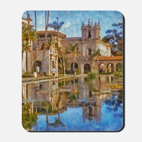 balboa park reflections 14 x 10 Mousepad