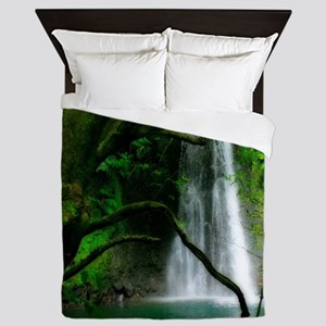 Waterfall in Azores Queen Duvet