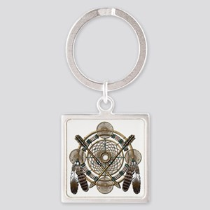 Dreamcatcher Medicine Wheel Square Keychain