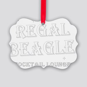 Regal Beagle Text White Picture Ornament
