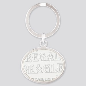 Regal Beagle Text White Oval Keychain