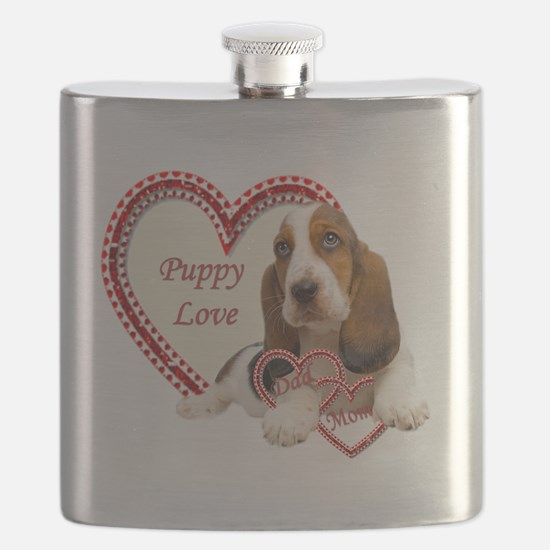 Basset Hound Puppy Love holding hearts Flask