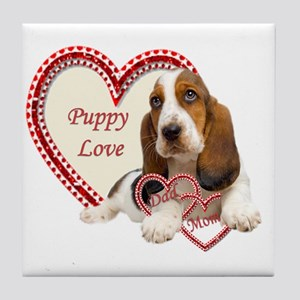 Basset Hound Puppy Love holding heart Tile Coaster