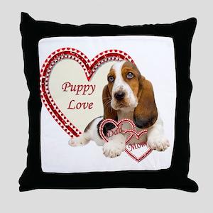 Basset Hound Puppy Love holding heart Throw Pillow