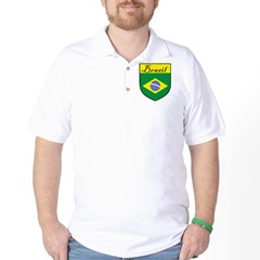 Brasil Flag Crest Shield Golf Shirt