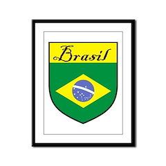 Brasil Flag Crest Shield Framed Panel Print
