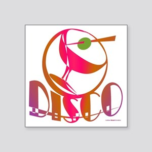 "Disco Martini Square Sticker 3"" x 3"""