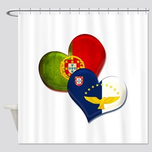 Portugal and Azores hearts Shower Curtain