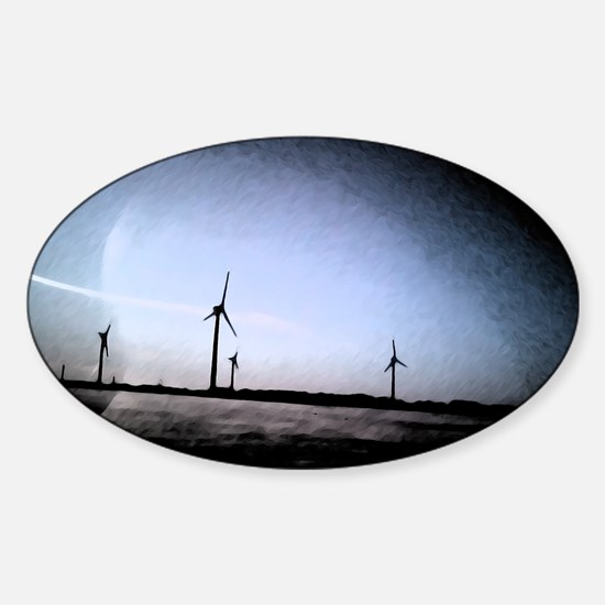 Turbines Painting Sticker (Oval)