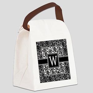 damask_monogram_W Canvas Lunch Bag