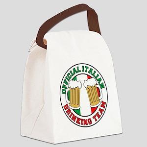 Italian Drinking Team Glass Canvas Lunch Bag