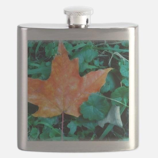 Autumn Leaf Painting Flask