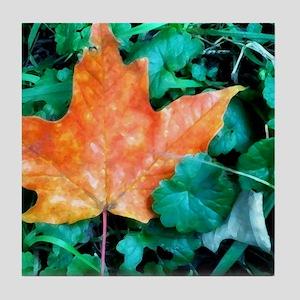 Autumn Leaf Painting Tile Coaster