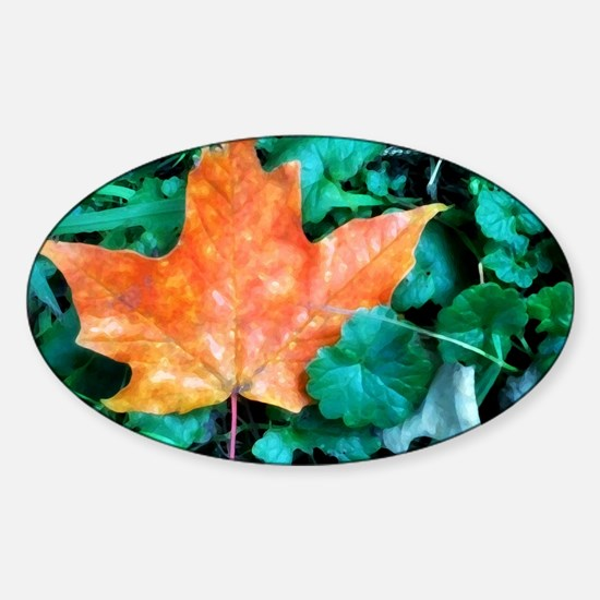 Autumn Leaf Painting Sticker (Oval)