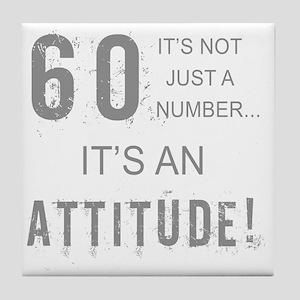 60th Birthday Attitude Tile Coaster