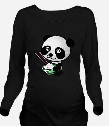 Panda Rice Black Long Sleeve Maternity T-Shirt