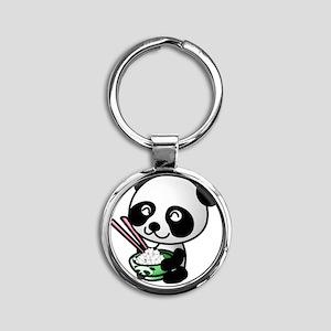 Panda Rice Black Round Keychain