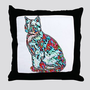 NEON CAT Throw Pillow