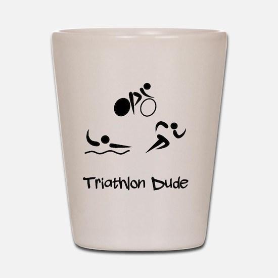 Triathlon Dude Black Shot Glass