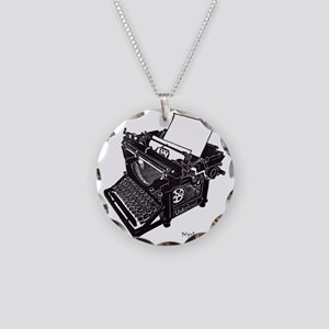 Antique typewriter Necklace Circle Charm