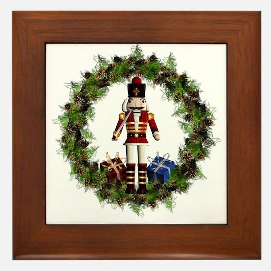 Red Nutcracker Wreath Framed Tile