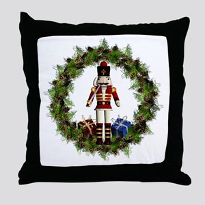 Red Nutcracker Wreath Square Throw Pillow