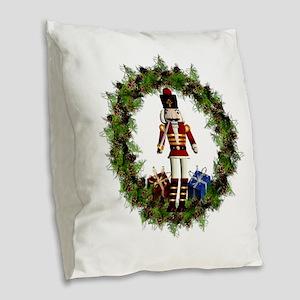 Red Nutcracker Wreath Burlap Throw Pillow