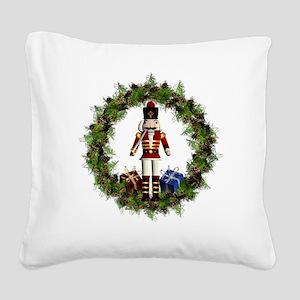 Red Nutcracker Wreath Square Canvas Pillow
