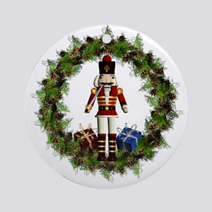 Red Nutcracker Wreath Ornament (round)