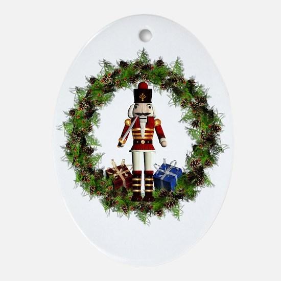 Red Nutcracker Wreath Ornament (oval)