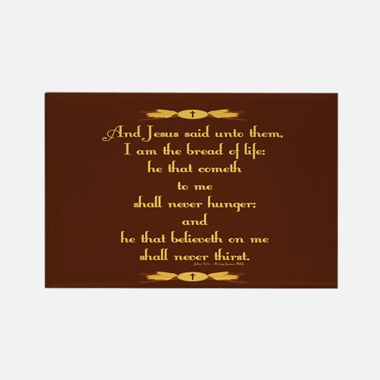 John 6:35 Wheat Rectangle Magnet